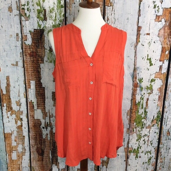 5f78bf189fc23 Anthropologie Tops - Maeve Anthropologie Coral Sleeveless Button Down
